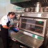 The panoramic glass will allow the chef to control the cooking inside the PIRA charcoal 90 ED oven
