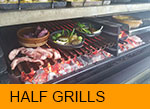 Half Grills for Pira Charcoal Oven Detail, with different food at same height.
