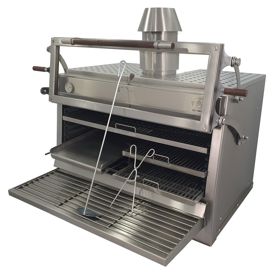 Pira charcoal oven 120 ED with half griddle grill and two half rod grills
