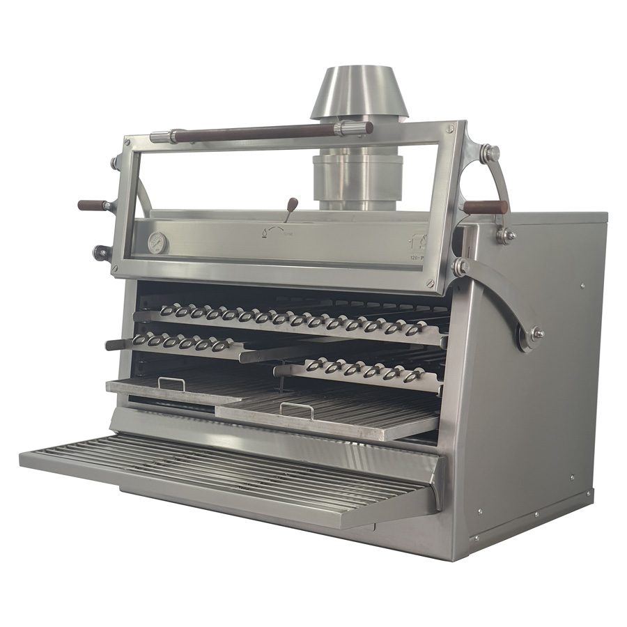Pira Charcoal Oven 120 ED with half rod grills and half skewers