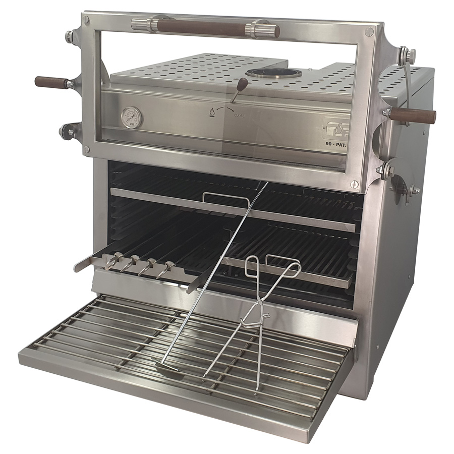 Pira charcoal oven 120 ED with half skewers grill and a half rod grills